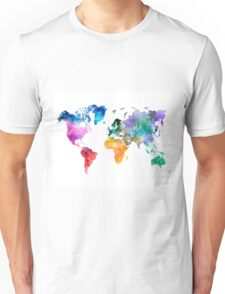 Colorful watercolor map of the world with watercolor Unisex T-Shirt