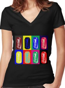 Empty Coke Cans Women's Fitted V-Neck T-Shirt