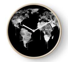 Negative world map, black and white Clock