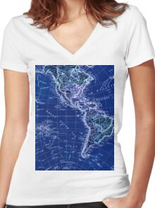 Negative world map Women's Fitted V-Neck T-Shirt