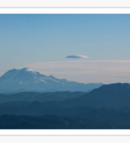 Mt. Rainier & Mt. St. Helens in blue Sticker