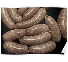 Homemade sausages close to  Poster