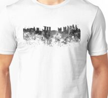 Singapore skyline in black watercolor background Unisex T-Shirt