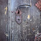 Lock and door handle on of the old the front door by mrivserg