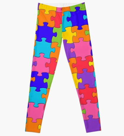 Funny Colorful Jigsaw Solved Puzzle Pieces Leggings