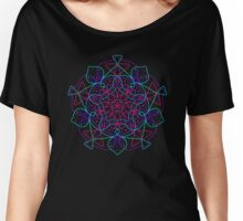 Colored Mandala Geometric Universe Print  Women's Relaxed Fit T-Shirt