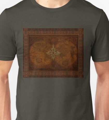 Steampunk Compass Rose & Antique Map Unisex T-Shirt