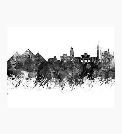 Cairo skyline in watercolor background Photographic Print