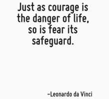 Just as courage is the danger of life, so is fear its safeguard. by Quotr
