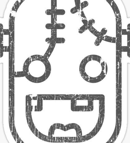 Frankenstein Monster Face Icon Old Print Funny Sticker