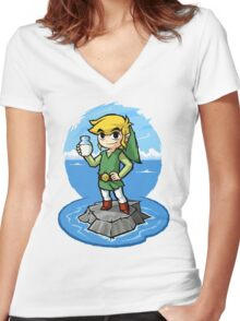 Zelda Wind Waker Bottle of Milk Women's Fitted V-Neck T-Shirt