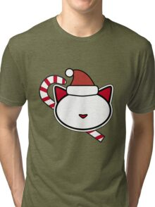Meow Christmas Candy Canes Tri-blend T-Shirt