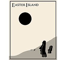 Easter Island Minimalist Travel Poster - Beige Version Photographic Print