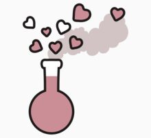 Pink Love Magic Potion in Laboratory Flask Kids Tee