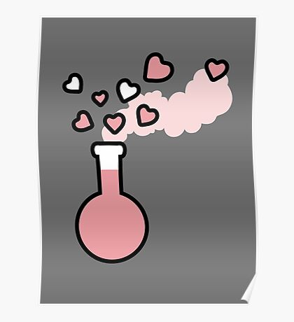 Pink Love Magic Potion in a Laboratory Flask Poster