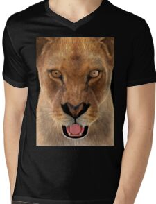 Female Lion Mens V-Neck T-Shirt