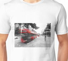 Red double-decker bus on the street of London.  Unisex T-Shirt