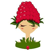 Raspberry character vector illustration Photographic Print
