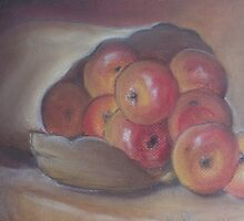 Red apples in a bag by OlaG