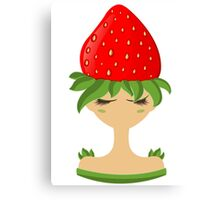 Strawberry character vector illustration Canvas Print