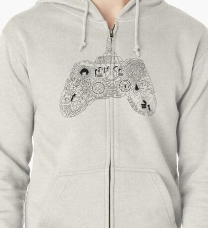 Controller Collage Zipped Hoodie