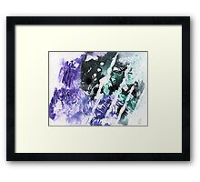 Purple, green and black abstract Framed Print