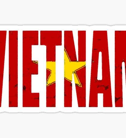 Vietnam Viet Nam Font With Vietnamese Flag Sticker
