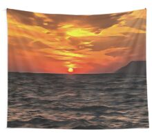 Sunset Over The Mediterranean Sea Wall Tapestry