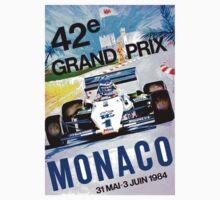 MONACO; Vintage Grand Prix Auto Print Baby Tee