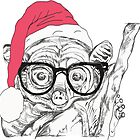 monkey with geek glasses and father christmas hat  by jackpoint23