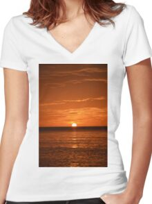Floridian Sunset III Women's Fitted V-Neck T-Shirt