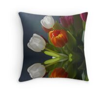 Mirrored Tulips Throw Pillow