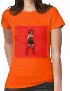 showgirl in lingerie and stockings  Womens Fitted T-Shirt