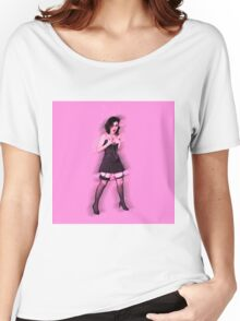 showgirl in lingerie and stockings  Women's Relaxed Fit T-Shirt