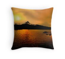 Amber Glow At Big Lake Throw Pillow