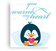 "PENGUIN ""you warm my heart"" Canvas Print"