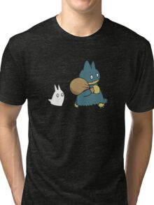 Munchlax and Chibi Totoro Tri-blend T-Shirt