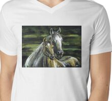 "Tenderness""Pastel Horse painting, Romantic Drawing Art, Landscape Mens V-Neck T-Shirt"