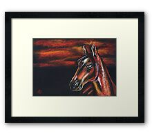 "Red horse"" Pastel Horse painting, Romantic Drawing Art Framed Print"