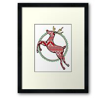 Christmas Reindeer Drawing Framed Print