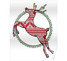 Christmas Reindeer Drawing Poster