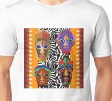 Undiscovered Africa. Ethnic print with stylized African tribal masks Unisex T-Shirt