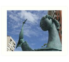 Girl with Tucan statue by Angel Botello Art Print