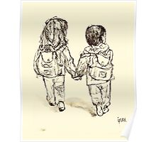 kids holding hands Poster