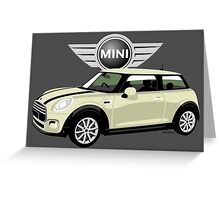 2014 Mini Cooper white Greeting Card