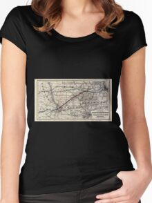 0230 Railroad Maps Map of the Chicago and Southwestern Railway and the Chicago Rock Island Pacific Railroad and their Women's Fitted Scoop T-Shirt