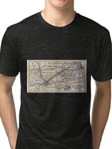 0230 Railroad Maps Map of the Chicago and Southwestern Railway and the Chicago Rock Island Pacific Railroad and their Tri-blend T-Shirt