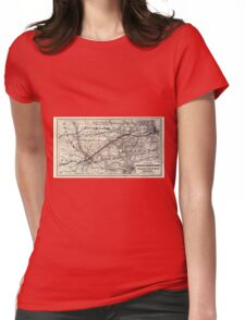0230 Railroad Maps Map of the Chicago and Southwestern Railway and the Chicago Rock Island Pacific Railroad and their Womens Fitted T-Shirt