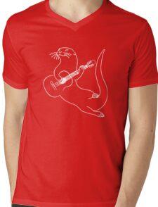Guitar Playing Otter Funny Mens V-Neck T-Shirt