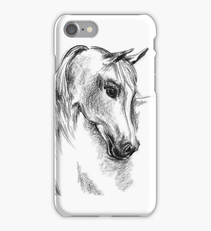 Horse, Original charcoal Horse drawing, Monochromatic line art,  iPhone Case/Skin